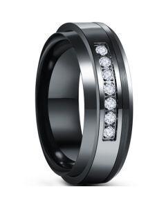 *COI Tungsten Carbide Black Silver Ring With Cubic Zirconia-6009
