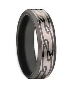 COI Black Tungsten Carbide Celtic Beveled Edges Ring - TG674