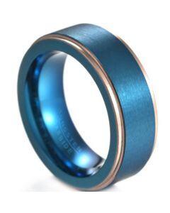 **COI Tungsten Carbide Blue Gold Tone Step Edges Ring-6835