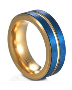**COI Tungsten Carbide Blue Gold Tone Center Groove Beveled Edges Ring-6836