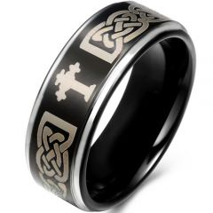 COI Tungsten Carbide Cross Celtic Step Edges Ring - TG746AA