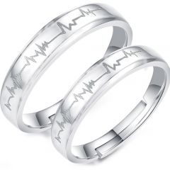 COI Tungsten Carbide Heartbeat Beveled Edges Ring-TG859A