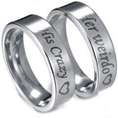 COI Tungsten Carbide His Crazy Her Weirdo Ring-TG3071AA