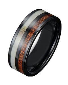 COI Black Tungsten Carbide Deer Antler & Wood Ring-TG3882A