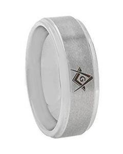 *COI Tungsten Carbide Masonic Step Edges Ring - TG3645