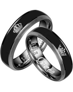*COI Tungsten Carbide King Queen Crown Beveled Edges Ring-2094A