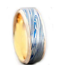 COI Tungsten Carbide Blue Rose Damascus Step Edges Ring-5449