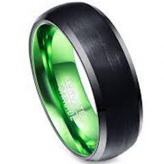 COI Tungsten Carbide Black Green Beveled Edges Ring-TG3386BB