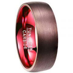 COI Tungsten Carbide Espresso Red Dome Court Ring-TG2918BB
