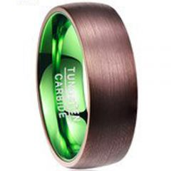 COI Tungsten Carbide Espresso Green Dome Court Ring-TG2941BB