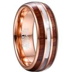 COI Rose Tungsten Carbide Wood & Abalone Shell Ring-TG5071