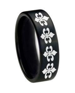 COI Black Tungsten Carbide Fleur De Lis Pipe Cut Ring-TG1104CC