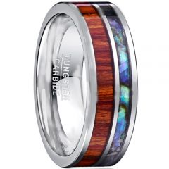 COI Tungsten Carbide Abalone Shell & Wood Ring - TG1206AA