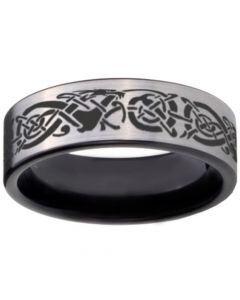 COI Tungsten Carbide Dragon Pipe Cut Flat Ring - TG1238BB