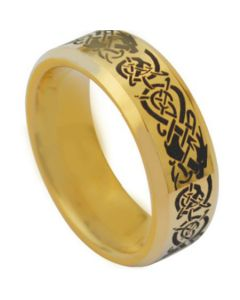 *COI Gold Tone Tungsten Carbide Dragon Beveled Edges Ring-TG3831