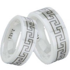 COI White Ceramic Greek Key Pipe Cut Flat Ring-TG1300