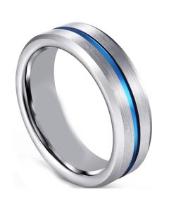 COI Tungsten Carbide Blue Silver Center Groove Ring - TG1306EE
