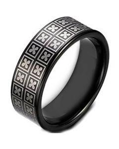COI Black Tungsten Carbide Clover Pipe Cut Ring-TG1621AA