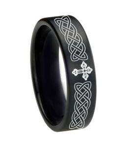 *COI Black Tungsten Carbide Cross Celtic Pipe Cut Flat Ring-1661