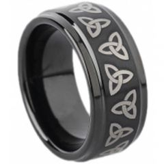 COI Black Tungsten Carbide Triquetra Trinity Knot Ring-TG1673
