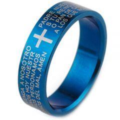 COI Blue Tungsten Carbide Cross Scripture Ring-TG1866
