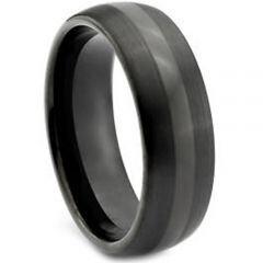 COI Black Tungsten Carbide Center Line Dome Court Ring - TG1917
