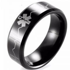 COI Black Tungsten Carbide Medical Alert Heartbeat Ring-TG1957B