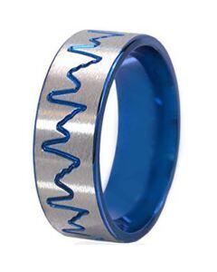 COI Tungsten Carbide Heartbeat Pipe Cut Flat Ring - TG195C