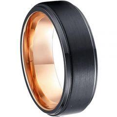 COI Tungsten Carbide Black Rose Step Edges Ring-TG1978AA