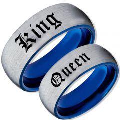 COI Tungsten Carbide Blue Silver King Queen Ring-TG2095CC