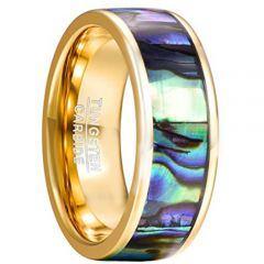 COI Gold Tone Tungsten Carbide Abalone Shell Ring-TG2191CC