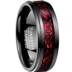 COI Black Red Tungsten Carbide Dragon Step Edges Ring-TG2214