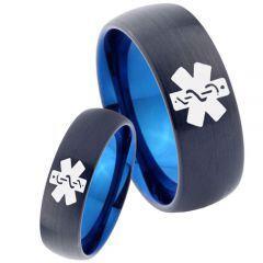 COI Tungsten Carbide Black Blue Medic Alert Ring - TG2272