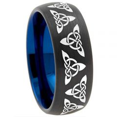 COI Tungsten Carbide Black Blue Trinity Knots Dome Ring-TG2492A