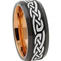 COI Tungsten Carbide Black Rose Celtic Beveled Edges Ring-TG2726