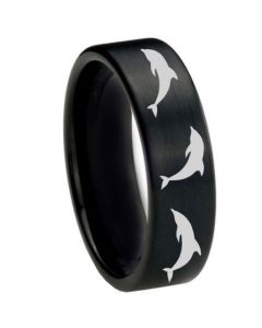 COI Black Tungsten Carbide Dolphin Pipe Cut Flat Ring-TG2754