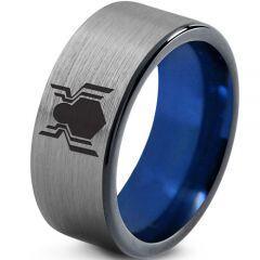 COI Tungsten Carbide Spiderman Pipe Cut Flat Ring - TG2759