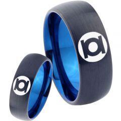 COI Tungsten Carbide Black Blue Green Lantern Ring - TG2807