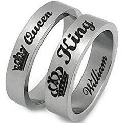 COI Tungsten Carbide King Queen Crown Pipe Cut Flat Ring-TG2856A