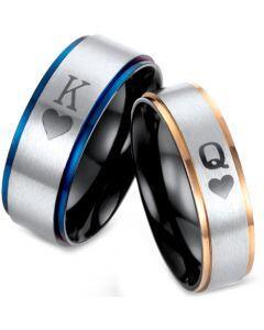 *COI Tungsten Carbide Black Blue/Rose King Queen Heart Ring-TG2875