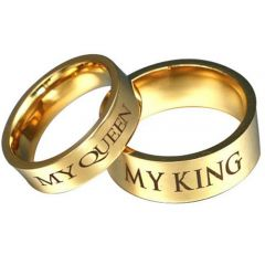 COI Gold Tone Tungsten Carbide King Queen Flat Ring-TG3073