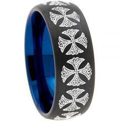 COI Tungsten Carbide Black Blue Cross Dome Court Ring-TG3082