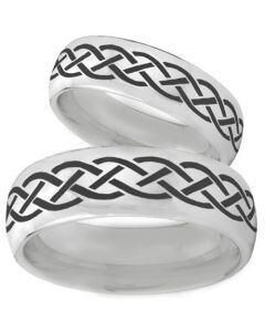 COI Tungsten Carbide Celtic Dome Court Ring-TG3096BB