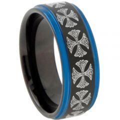 COI Tungsten Carbide Black Blue Cross Step Edges Ring-3106CC