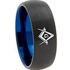 *COI Tungsten Carbide Black Blue Masonic Dome Court Ring-TG3130AA