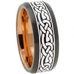 COI Tungsten Carbide Black Rose Celtic Beveled Edges Ring-TG3156