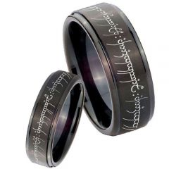*COI Black Tungsten Carbide Lord of The Ring Step Edges Ring-TG3168
