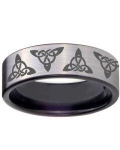 COI Tungsten Carbide Triquetra Trinity Knots Ring - TG5090