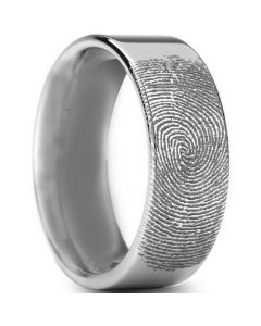 COI Tungsten Carbide Custom Fingerprint Pipe Cut Flat Ring-TG3234