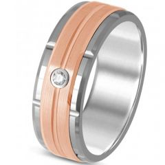 *COI Tungsten Carbide Tire Tread Ring With Cubic Zirconia-TG325BB